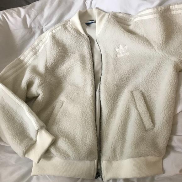 Adidas white teddy jacket